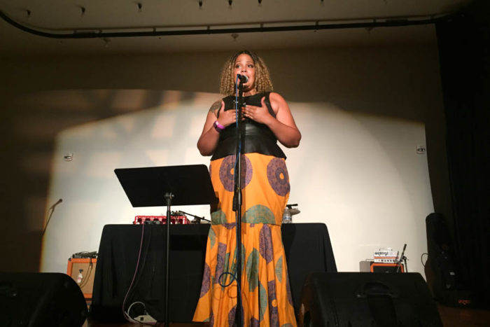 Writer Ijeoma Oluo speaks at at the Stomp the Patriarchy event to celebrate the anniversary of #ShoutYourAbortion. (Photo by Melissa Lin.)
