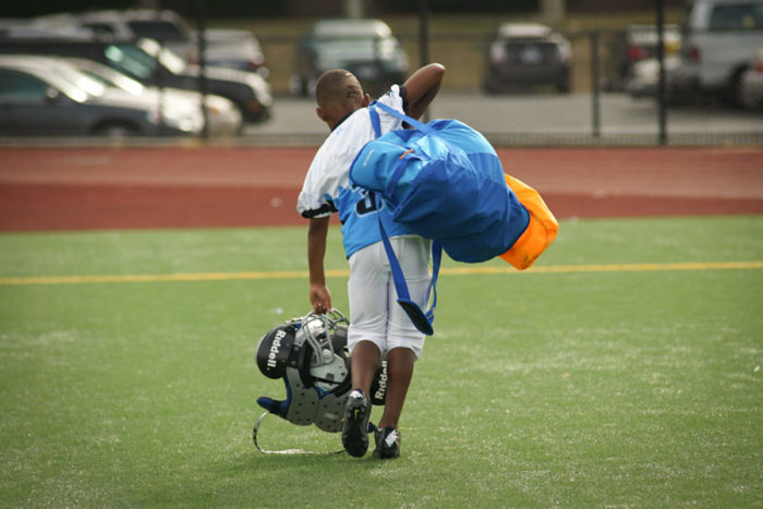 A CD Panther player leaves the field after the game against the SeaTac Sharks.