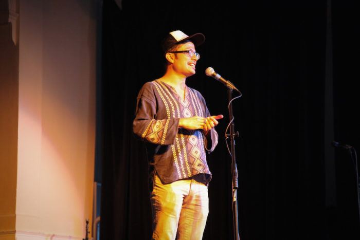 "Felipe Rodriguez-Flores speaks at ""Stories of Finding Home."" (Photo by Alex Stonehill.)"