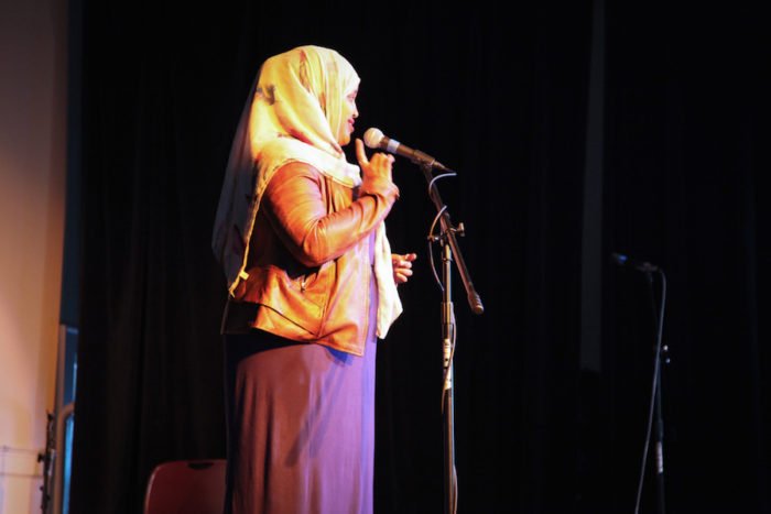 "Hodan Hassan onstage at the Seattle Globalist's ""Stories of Finding Home"" event. (Photo by Alex Stonehill.("