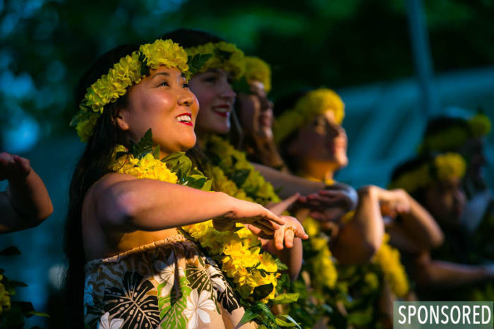 Sunshine from Polynesia performs Hawaiian and Tahitian Dances on the Northwest Folklife Festival's new Open-Air Dance Stage. (Photo by Christopher Nelson)