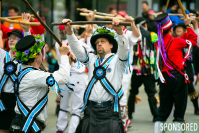 3. Morris Dancing in the McCaw Promenade at the Northwest Folklife Festival. (Photo by Christopher Nelson)