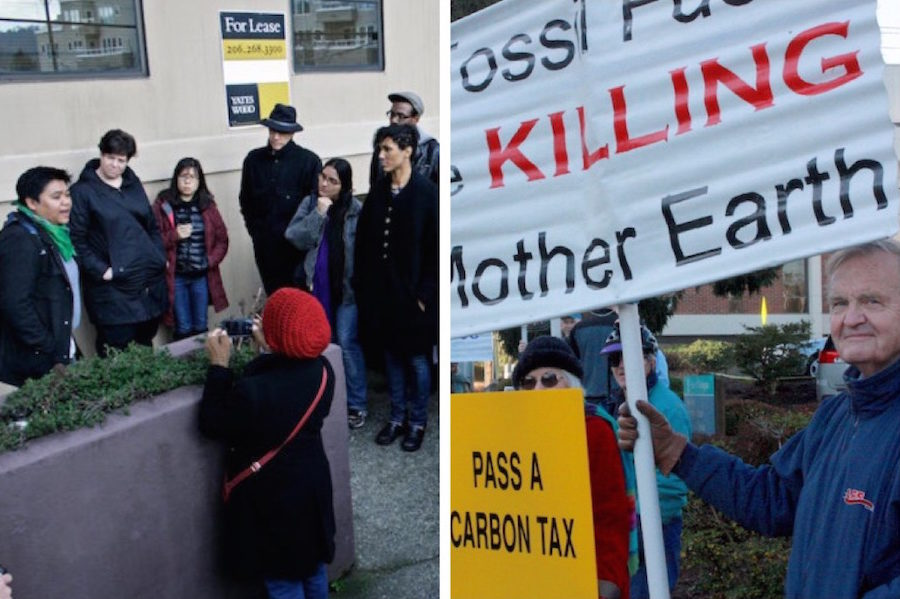 (Left image) Jill Mangaliman (left) of Got Green speaks after a a coalition of groups met with Carbon Washington regarding Initiative 732. The groups opted not to support the initiative and will support an alternative. (Right image) Frank Turner of Olympia holds up a sign in support of Initiative 732. (Photos by Renotography and John Stang)