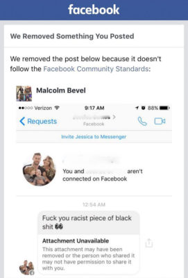 A screenshot taken by Malcolm Bevel after Facebook decided he'd violated their community standards by posting a racist message he'd received.