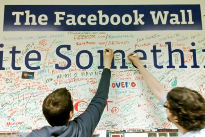 """The """"Wall"""" at Facebook headquarters, where employees have been reprimanded for crossing out """"Black Lives Matter."""" (Photo from Flickr by Quim Gil)"""