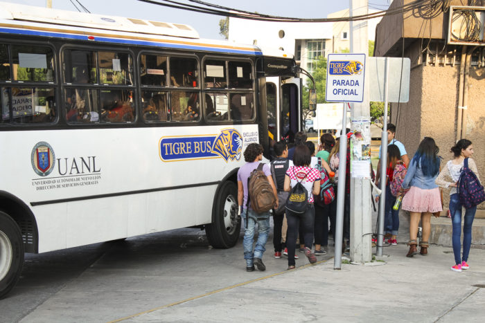 Students qualify for the public transportation program by participating in a government community service program. They must participate in community service for four hours one day each month. (Itzel Hervert, GPJ Mexico)