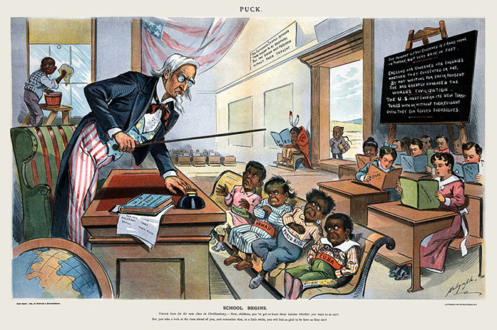 A political caricature first appearing in Puck magazine in 1899 that depicts Uncle Sam teaching a lesson. (Photo courtesy of United States Library of Congress)