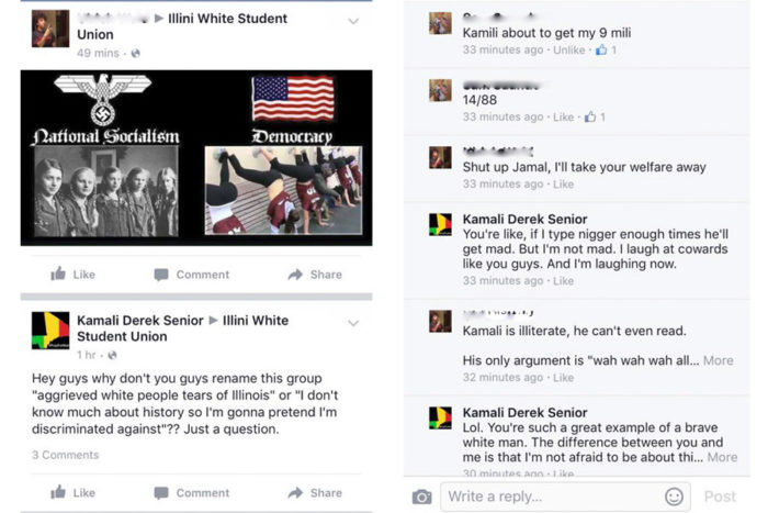 "The author's Facebook interactions with the University of Illinois ""White Student Union"" page users."