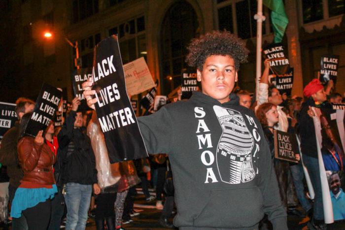 Black Lives Matter protesters gather at Westlake Park. (Photo by Melissa Lin.)