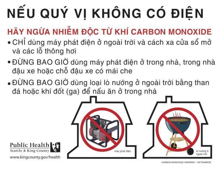 Public Health of Seattle & King County has carbon monoxide safety fliers available in multiple languages, including Vietnamese. (Photo via Public Health of Seattle & King County.)