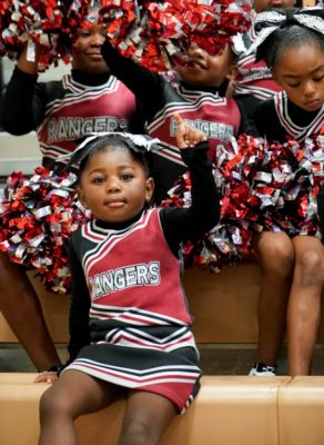 Mini Renton Ranger cheerleader Telecia, 3 shows some spirit during the GSYF&C Cheer Competition. (Photo by Susan Fried)