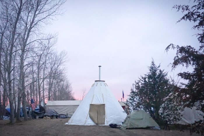 A tarpee in the Rosebud Camp at Standing Rock as night falls. (Photo by Agatha Pacheco)