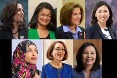 Clockwise from top left: Kamala Harris, Pramila Jayapal, Catherine Cortez Masto, Stephanie Murphy, Tammy Duckworth, Kate Brown and Ilhan Omar. (Photos from campaign websites and Facebook pages)