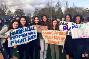 Jaya Duckworth (second from right) and friends at a recent rally. (Photo courtesy Jaya Duckworth.)