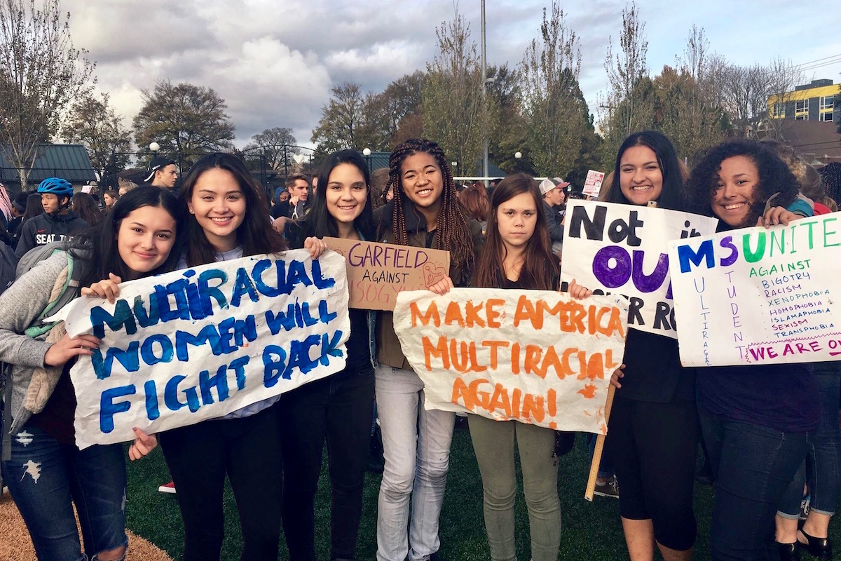 Jaya Duckworth (second from right) and friends at a recent rally. (Photo courtesy Jaya Duckworth.)
