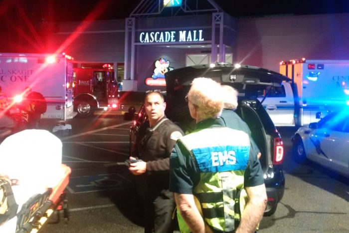 Emergency medical responders prepare to enter the Cascade Mall in Burlington, WA, in September after a gunman fatally shot five people. (Photo by Sgt. Mark Francis for Washington State Patrol via Twitter.)