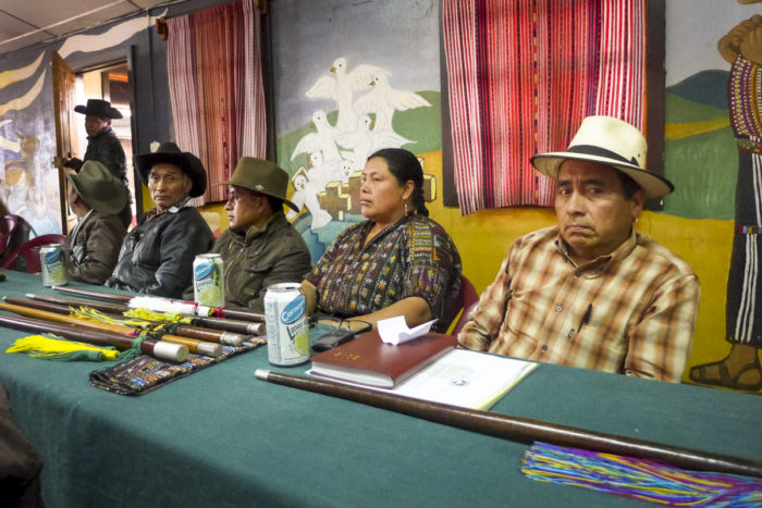 Inés Saloj (second from the right) attends a weekly meeting with 70 other community mayors in the Sololá municipality in southwestern Guatemala. (Photo by Brenda Leticia Saloj Chiyal, GPJ Guatemala)