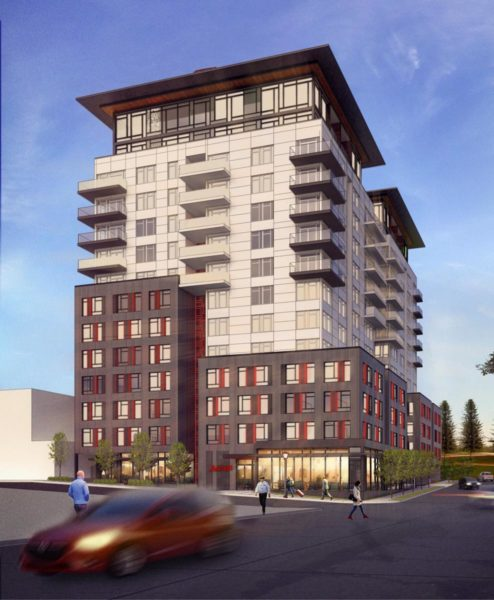 A rendering of the planned 14-story hotel and apartment building at 8th and Lane. (Courtesy Studio19 Architects)