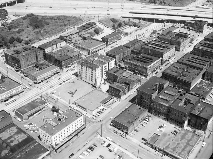 An arial view of the Chinatown-International District in 1969. Thanks to a special designation in 1973 to preserve its Asian heritage, the neighborhood hasn't changed as much as others in Seattle. (Photo from Seattle Municipal Archives)