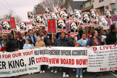 Unwarranted police killings were already an issue back in 2003, with marchers calling for a stronger citizens review board to oversee police. (Photo by Susan Fried)