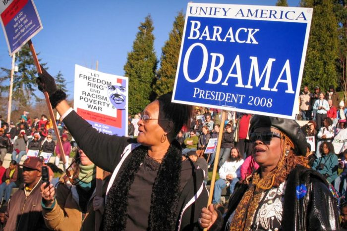 Central District business leader DeCharlene Williams, right, displayed her enthusiasm for the candidacy of Barack Obama . (Photo by Susan Fried)