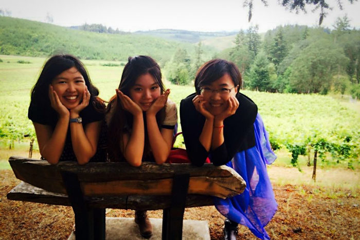 Frances Chen, right, and college friends during a visit to a wine vineyard. (Courtesy photo)