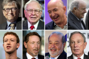 The world's eight richest people: Bill Gates, Warren Buffett, Jeff Bezos, Amancio Ortega, Mark Zuckerberg, Larry Ellison, Carlos Slim and Michael Bloomberg. (Photo from Reuters)