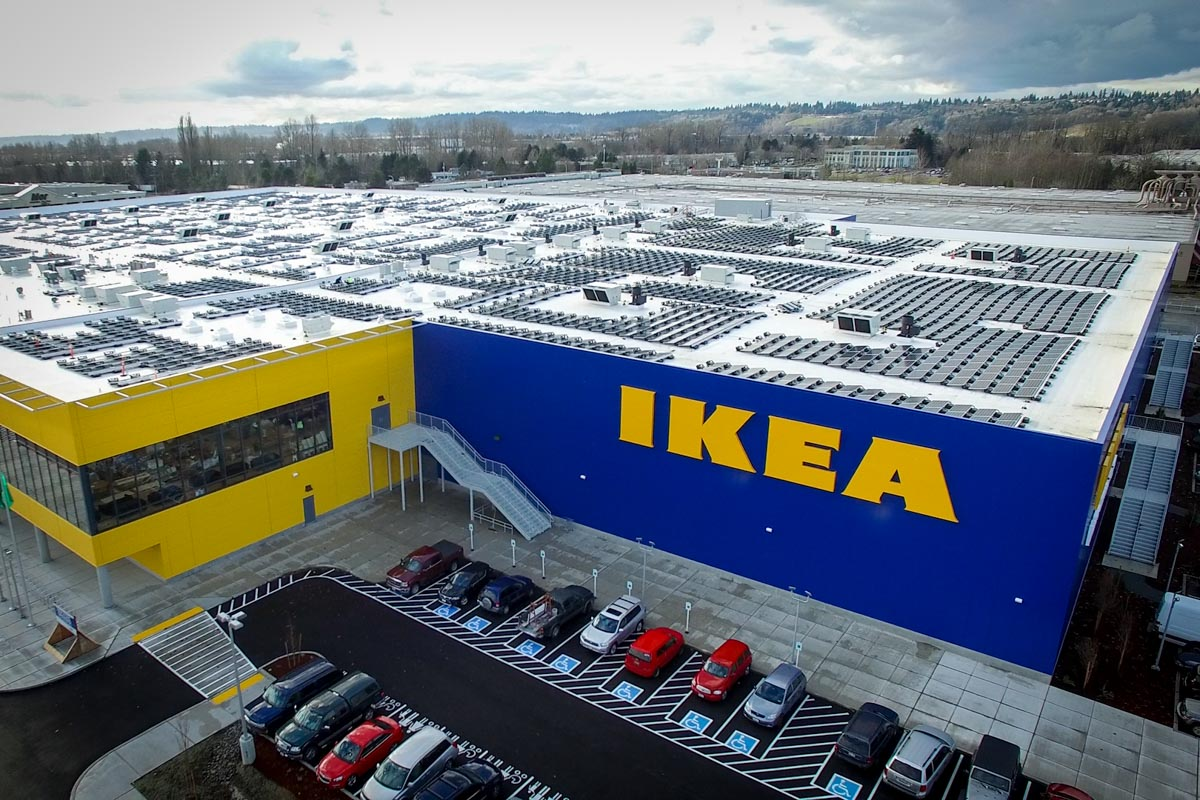 This new Renton location, complete with a 244,000 square-foot rooftop solar array, is part of Ikea's efforts to become energy independent by 2020. (Photo from A&R Solar)