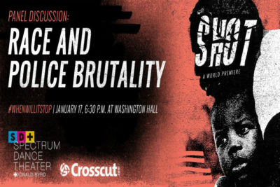 Poster on Race and Police Brutality panel discussion. Photo from Spectrum Dance Theater's company website.