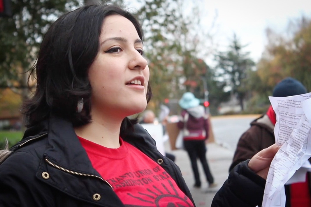 Mónica Mendoza-Castrejón of the Tenants Union. (Video still by Katie Anastas)