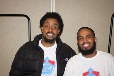 CA Codes Program Coordinator Mustafa Ahmed (left) and Cofounder Mukhtar Sharif (right) joined with other volunteers to support paid instructor Leyth Adan in running the coding classes. (Courtesy photo)