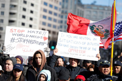 """Thousands of demonstrators, like these near the White House, joined the """"Day Without Immigrants"""" protest on February 16. At least 100 lost their jobs. (Photo by REUTERS / Aaron P. Bernstein)"""