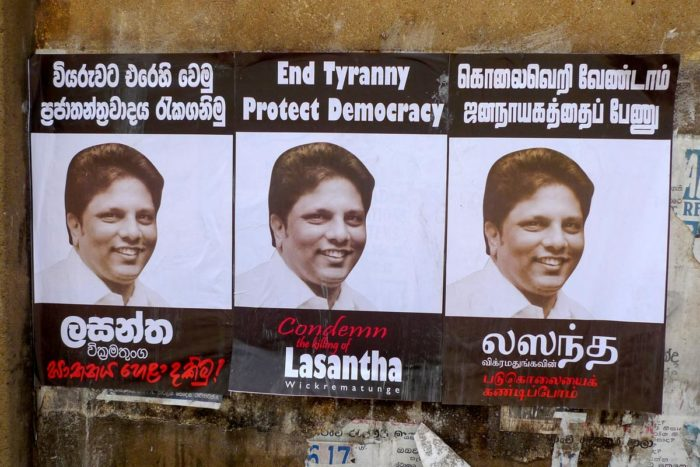 Posters in Colombo calling for justice for Lasantha Wickrematunge after his assassination. (Photo by Indi Samarajiva)