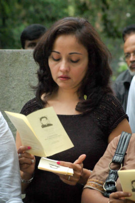 The author at a service held by Sunday Leader to commemorate the 2nd anniversary of Lasantha Wickrematuge's death. (Amantha Perera)