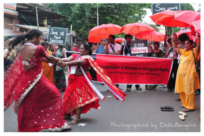 Sex workers in Calcutta, India gathered in a demonstration calling for legal rights. (Courtesy photo)