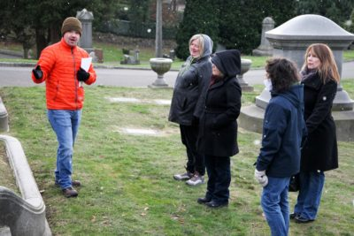 Jared Steed leads an Atlas Obscura tour of Lake View Cemetery. (Photo by Alex Stonehill)