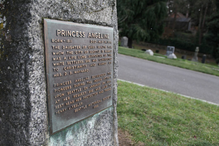 The gravestone of Princess Angeline, daughter of Chief Sealth, in Lake View Cemetery was erected by the Seattle historical society in 1958, and could probably use some updated language. (Photo by Alex Stonehill)