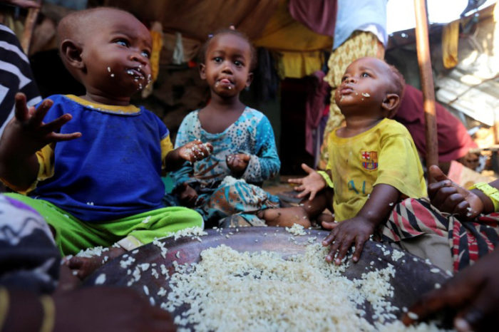 Internally displaced Somali children at the Al-cadaala camp in Mogadishu. The WHO estimates half of Somalia's population need urgent humanitarian aid because of the drought. (Photo from Reuters / Feisal Omar)