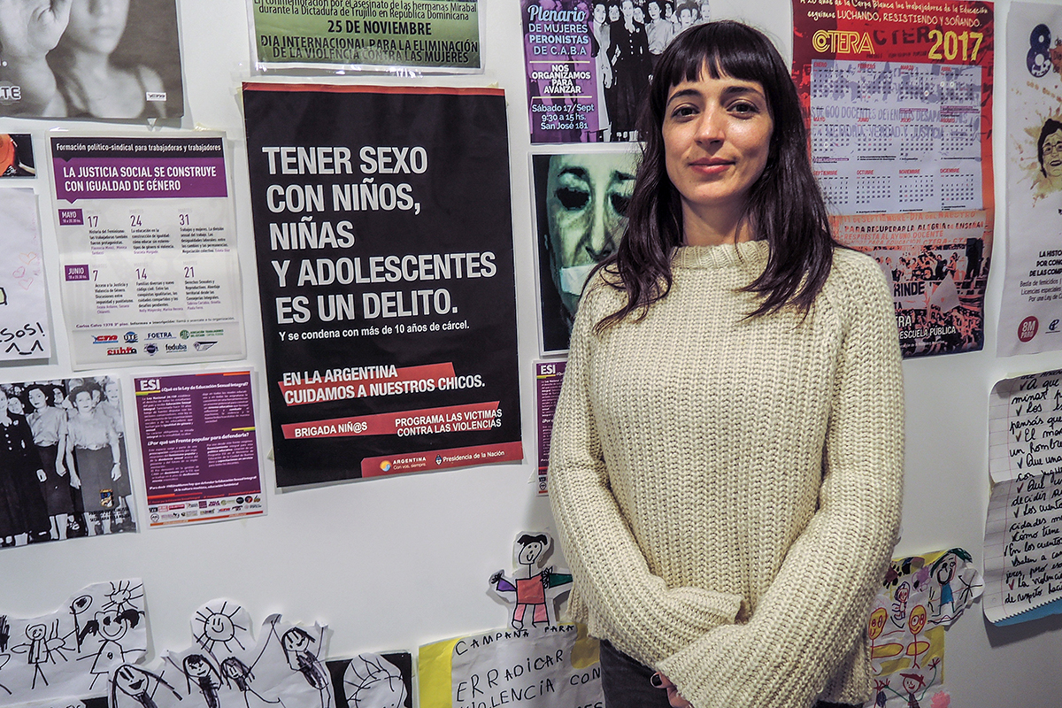 Carolina Brandariz, a sociologist and teacher in charge of the Secretaria de Igualdad de Oportunidades y Género de la Unión de Trabajadores de la Educación, a teachers union, worries that budget cuts will jeopardize sex education in Argentina's schools. (Lucila Pellettieri, GPJ Argentina)