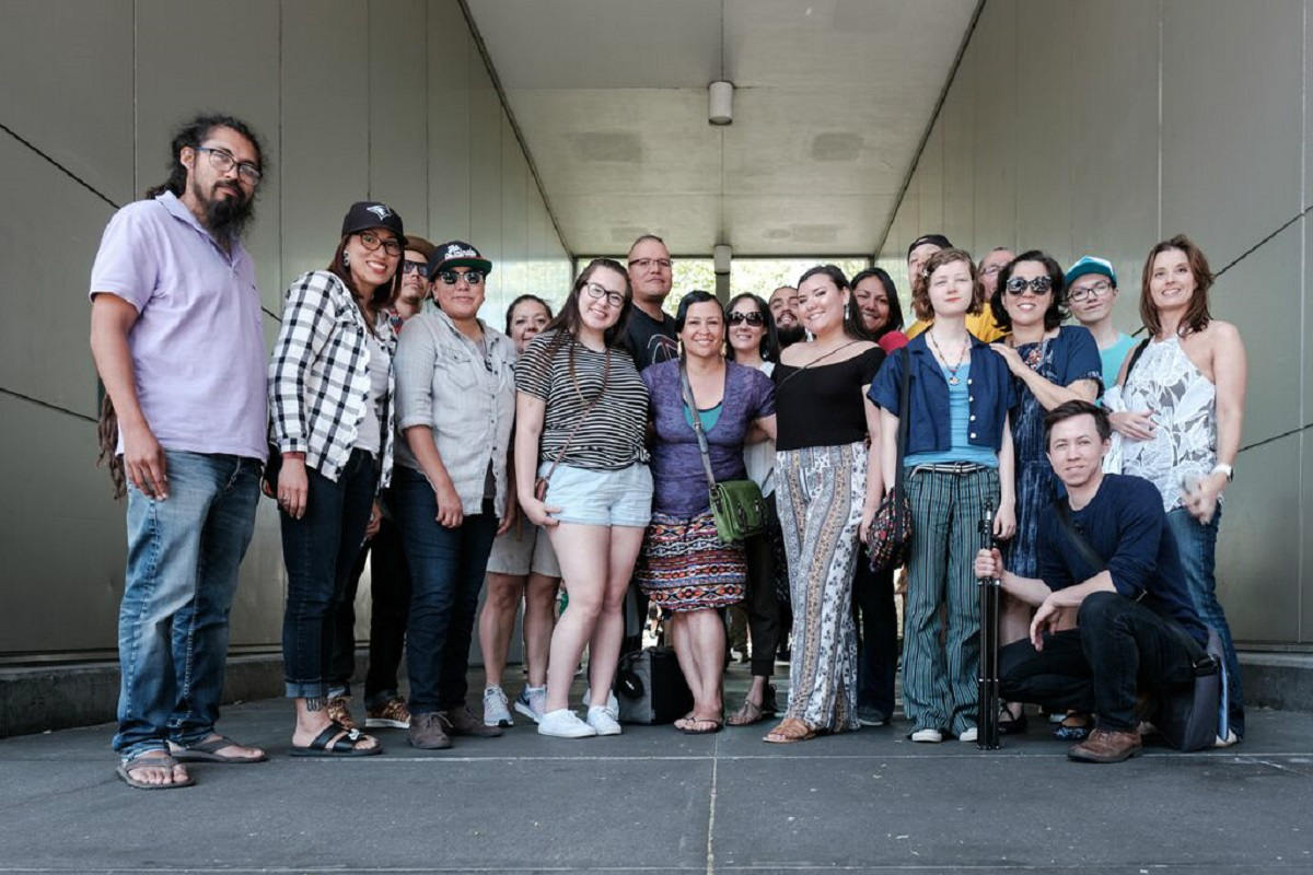 Tracy Rector and the participants in last year's 4th World Indigenous Media Lab pose for a group photo. (Photo Courtesy of Tracy Rector)