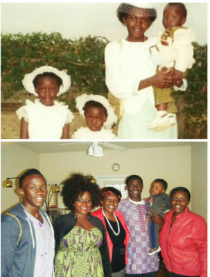 Top: Fiona Njorarai as a child, with her family. Bottom: with the family after five years in the US. (Photos courtesy Fiona Njorarai)
