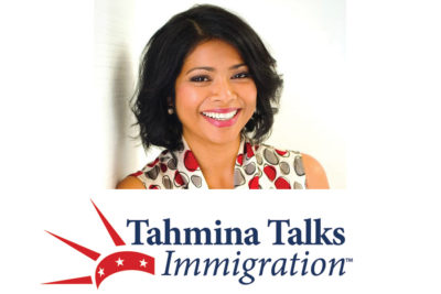 Headshot of immigration lawyer Tahmina Watson, with words Tahmina Talks Immigration below.