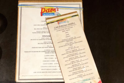 The eclectic menu at Pam's Kitchen located in Wallingford, Seattle. Pamela Jacob makes it a priority to produce authentic unaltered Caribbean food for her American customers. (Photo by Alexandra Polk)
